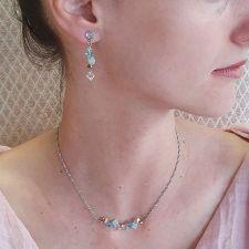 Бижута CANDY SEA с кристали Swarovski®, синьо-зелен цвят, Колие и Обеци, Код PR S713