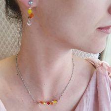 Бижута CANDY SUMMER с кристали Swarovski®, жълто-оранжев цвят, Колие и Обеци, Код PR S711