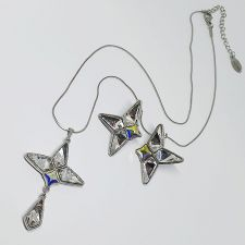 Бижута ROCK с кристали Swarovski® KITE Crystal, Бял цвят, Комплект Колие и Обеци, Код PR S658