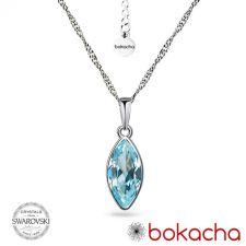 Колие с кристали SWAROVSKI® MARQUISE Aquamarine 14 мм - Син цвят, Код PR N654