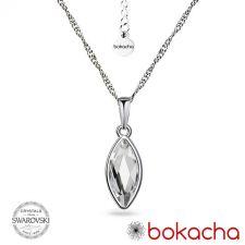Колие с кристали SWAROVSKI® MARQUISE Crystal 14 мм - Бял цвят, Код PR N593
