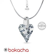 Колие с кристали Swarovski® WILD HEART 17мм CAL V SI - Бял цвят, Код PR N651