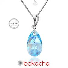 Колие CRYSTAL SWAROVSKI® PEAR DROP 16мм Aquamarine AB - Светло син, Код PR N333