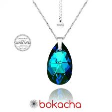 Колие с кристали Swarovski® BIG PEAR DROP 22мм Bermuda Blue BBL, Син, Код PRFNL N112
