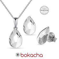 Бижута с кристали Swarovski® PEAR 14мм Crystal, Бял цвят, Колие и обеци, Код PR S573