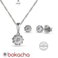 Бижута  с кристали Swarovski® CHATON 7 и 4 мм, Crystal - Бял цвят, Колие и Обеци, Код PR S618