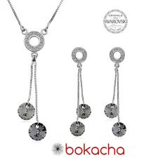 Бижута AMIKOS с кристали Swarovski® RIVOLI Light Chrome, Сив, Колие и Обеци, 8мм, Код PR S458