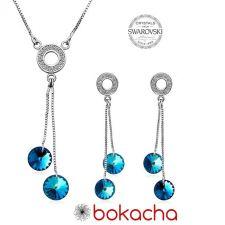 Бижута AMIKOS с кристали Swarovski® RIVOLI Bermuda Blue BBL, Син, Колие и Обеци, 8мм, Код PR S457