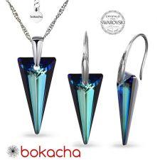 Бижута с кристали Swarovski® SPIKE 18 мм, Crystal - Bermuda Blue BBL, Син цвят, Колие и Обеци, Код PRFNO S615