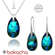 Бижута с кристали Swarovski® BIG PEAR DROP Bermuda Blue BBL, Син, Колие и Обеци, 22мм, Код PRFNL S112