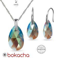 Бижута  с кристали Swarovski® PEAR DROP Black Diamond, Колие и Обеци (16 и 22 мм), Shimmer Ефект, Код PRFNO S603
