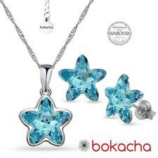 Бижута с кристали SWAROVSKI® STARBLOOM Aquamarine, Син цвят, Колие с обеци на винт, Код PR S642