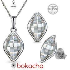Бижута  с кристали Swarovski® LEMON 14мм, Crystal, Бял, Колие с обеци на винт, Код PR S568