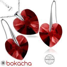 Бижута с кристали Swarovski® BIG HEART Light Siam АВ - Червен цвят, Колие и обеци 14 мм,  Код PR S035B