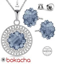 Бижута с кристали Swarovski® JELLY FISH Blue Shade**, Син цвят, Колие с обеци,  Код PR S539