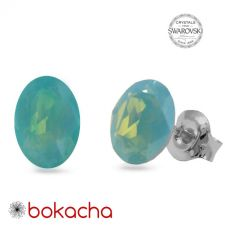 Обеци със SWAROVSKI® DESIGN OVAL Pacific opal- зелен цвят, 8mm, Код PR E656