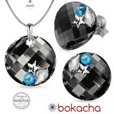 Бижута STAR украсени с камъни SWAROVSKI® TWIST 18мм Silver Night** AB - Черен, Колие и Обеци, 18мм, Код PR S555