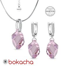 Бижута с кристали Swarovski® CUBIST, Колие и Обеци 22мм Light Amethyst, Розов цвят,  Код PR S498