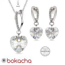 Бижута VALENTINE SWAROVSKI® WHITE HEART Crystal, Бял цвят, Колие и обеци (14 и 10 мм),  Код PRFNO S431