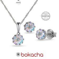 Бижута с кристали Swarovski® CHATON, 7 мм, Crystal Aurore Boreale** AB, Бял цвят, Колие и Обеци, Код PR S616