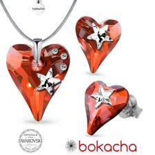 Бижута STAR с кристали SWAROVSKI® WILD HEART Red Magma**,Червен цвят, Колие и обеци (17 и 12 мм), Код PR S577
