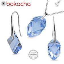 Бижута с кристали Swarovski® CUBIST, Колие и Обеци 22мм Light Sapphire, Син цвят,  Код PR S497