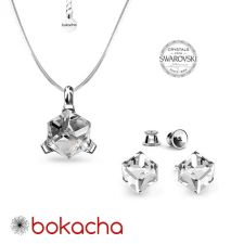 Бижута  декорирани със SWAROVSKI® CUBE Crystal, Бял, Колие и Обеци на винт, Код PR S582-A