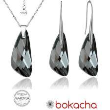 Бижута с кристали Swarovski® WING Silver Night** AB - Черен, Колие и Обеци, 23мм, Код PR S088
