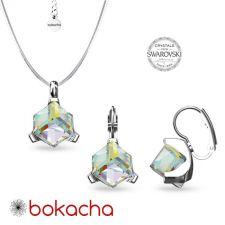 Бижута  декорирани със SWAROVSKI® CUBE Crystal AB, Бял, Колие и Обеци, 8мм, Код PRFNO S635