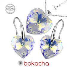 Бижута с кристали Swarovski® HEART Crystal AB, Бял цвят, Колие и обеци (14 и 10 мм),  Код PR S001B