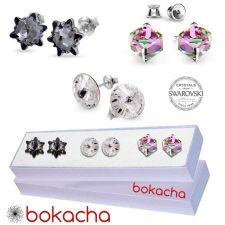 Сет Обеци с кристали Swarovski® EDELWEISS, CUBE и RIVOLI 10мм, 6мм и 8мм, Многоцветни, Код PR S430A