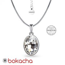 Колие с кристали SWAROVSKI® OVAL в Crystal - Бял цвят, Код PR N655