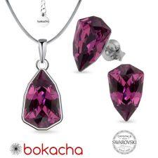 Бижута с кристали SWAROVSKI® SLIM TRILLIANT Amethyst, Лилав цвят, Колие с обеци на винт, Код PR S629