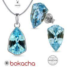 Бижута с кристали SWAROVSKI® SLIM TRILLIANT Aquamarine, Син цвят, Колие с обеци на винт, Код PR S630