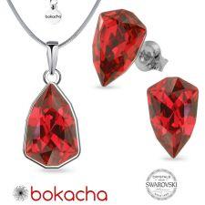 Бижута с кристали SWAROVSKI® SLIM TRILLIANT в Scarlet - Червен цвят, Колие с обеци на винт, Код PRFNO S633