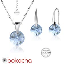 Бижута с кристали Swarovski® RIVOLI Denim Blue - Син, Колие и обеци 8мм, Код PRFNS S376