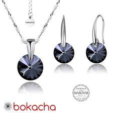 Бижута с кристали Swarovski® RIVOLI Silver Night** AB - Черен, Колие и обеци 8мм, Код PR S375A