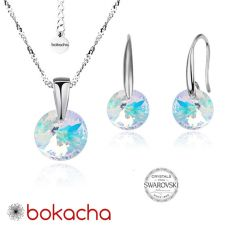 Бижута с кристали Swarovski® RIVOLI Crystal Aurore Boreale** AB, Бял, Колие и обеци 8мм,  Код PRFNL S370A