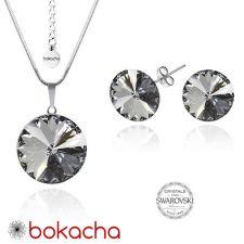 Бижута с кристали Swarovski® RIVOLI Silver Night** AB - Черен, Колие с обеци на винт (12мм и 8мм),  Код PR S028A