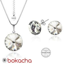 Бижута с кристали Swarovski® RIVOLI Crystal AB, Бял, Колие с обеци на винт (12мм и 8мм),  Код PR S021A