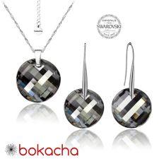Бижута с кристали Swarovski® TWIST 18мм Silver Night** AB - Черен,  Код PR S358