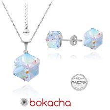 Бижута с кристали Swarovski® CUBE Crystal, Бял цвят, Колие 8мм и Обеци 6мм,  Код PR S041