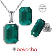 Бижута декорирани със SWAROVSKI® EMERALD Emerald, Зелен, Колие и Обеци 14мм, Код PR S585