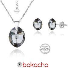 Бижута с кристали Swarovski® LEAF Silver Night** AB - Черен, Колие 14мм и Обеци 10мм,  Код PR S050