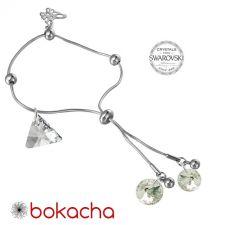 Гривна с кристали Swarovski® TRIANGLE Crystal**, Бял,12мм и 8мм, Код PR B353-A