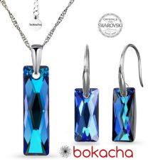 Бижута с кристали Swarovski® QUEEN Baguette, Bermuda Blue BBL, Син, Колие и Обеци (25 и 13,5 мм), Код PRFNS S608