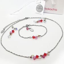 Бижута CANDY SWEET с кристали Swarovski®, розово-червен цвят, Колие и Обеци, Код PR S710
