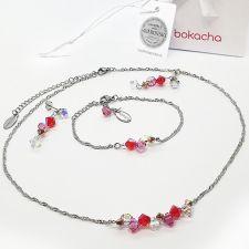 Бижута CANDY SWEET с кристали Swarovski®, розово-червен цвят, Колие, Обеци и Гривна, Код PR S710-3