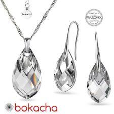 Комплект бижута с кристали SWAROVSKI® MET CAP PEAR, Crystal, Бял цвят, Колие и Обеци, Код PR S667
