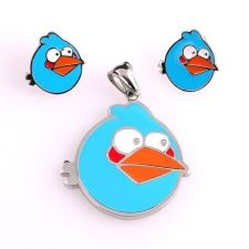 Бижута за деца ANGRY BIRDS Синьото птиче, комплект обеци и висулка, медицинска стомана, 316L S208